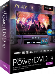 CyberLink PowerDVD 18 Ultra Upgrade inkl. PhotoDirector 9 Deluxe, Best.Nr. CY-276, erschienen 04/2018, € 39,95
