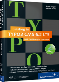 Einstieg in TYPO3 CMS 6.2 LTS, ISBN: 978-3-8362-3061-2, Best.Nr. GP-3061, erschienen 12/2014, € 29,90