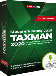 TAXMAN 2020 für Vermieter (Download), EAN: 9783648129067, Best.Nr. LXO5061, erschienen 11/2019, € 39,90