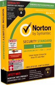 Norton Security Standard + WiFi Privacy für 1 Gerät, 1 Jahr, Best.Nr. NTB211, € 34,95
