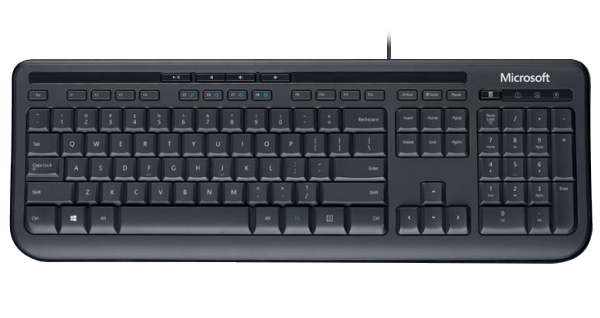 MS Wired Keyboard 600 schwarz (ANB-00008) - Tastatur mit Spritzwasserschutz, Medientasten, Plug & Play /  ,