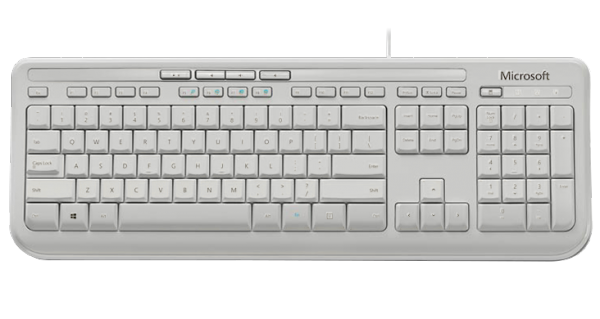 MS Wired Keyboard 600 weiß (ANB-00028) - Tastatur mit Spritzwasserschutz, Medientasten, Plug & Play /  ,