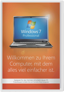 Windows 7 Professional - 64 Bit SP1 SB - 1 Benutzer, 64 Bit, incl. Service Pack 1, deutsch /   ,