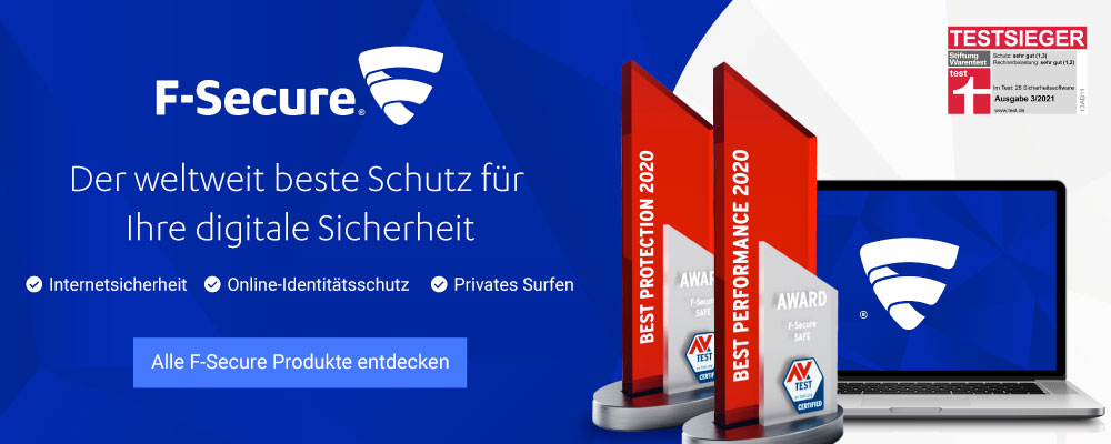 Mit F-Secure schützen Sie alle Geräte: Anti-Virus, Internet Security, Freedome VPN, KEY Passwortmanager