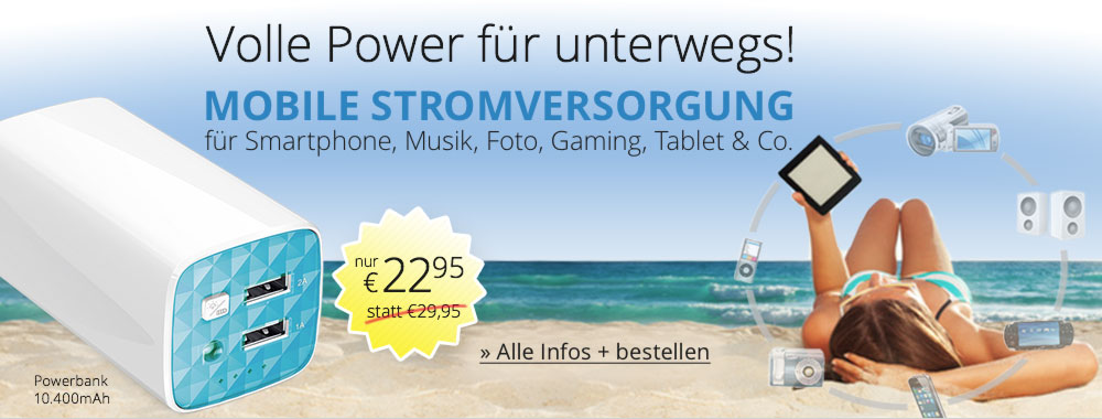 Volle Power f�r unterwegs! Mobile Stromversorgung f�r Smartphone, Musik, Foto, Gaming, Tablet und Co. mit der 10.400mAh PowerBank von TP-LINK - Jetzt f�r nur € 22,95 bestellen!