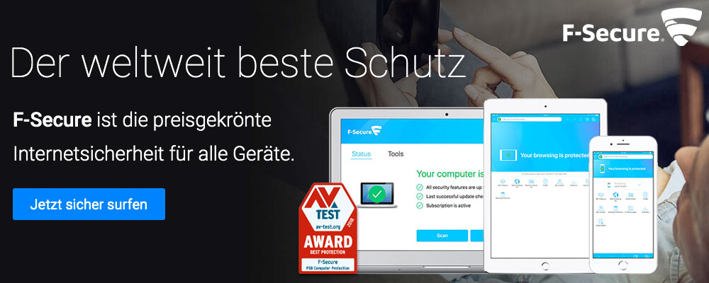 Mit F-Secure schützen Sie Ihren Computer: Anti-Virus, Internet Security, Freedome VPN, KEY Passwortmanager