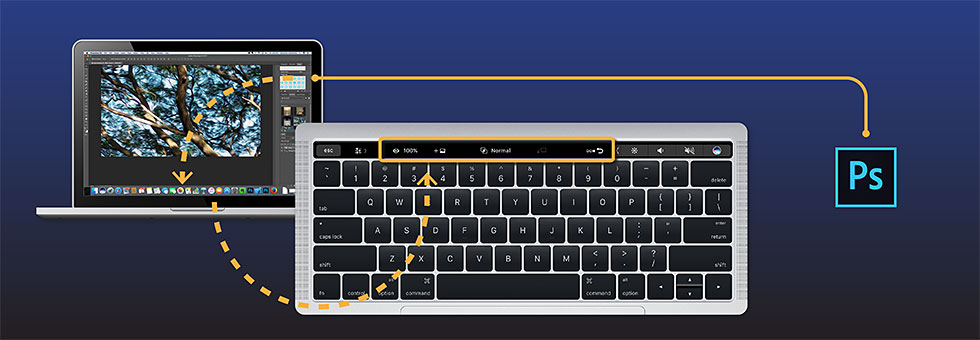 Die Touch Bar in Photoshop