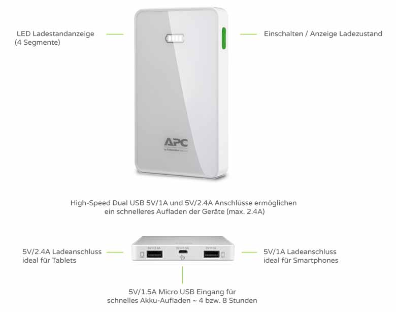 Features zur APC Mobile Power Pack M5 weiss (M5WH-EC)