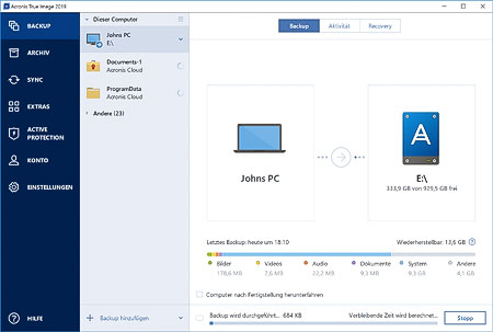 Screenshot Acronis True Image 2019