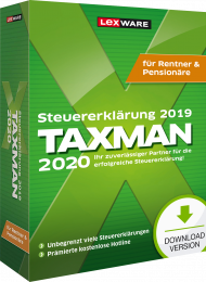 TAXMAN 2020 für Rentner & Pensionäre (Download), EAN: 9783648129210, Best.Nr. LXO5062, erschienen 11/2019, € 34,90