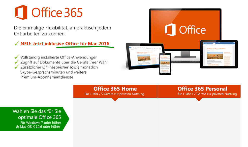 microsoft office 365 home personal g nstig im shop. Black Bedroom Furniture Sets. Home Design Ideas